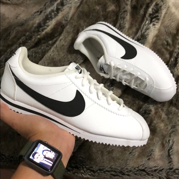best sneakers 763f9 60217 Classic Nike Cortez White and Black Leather